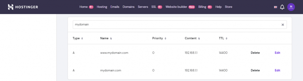 A screenshot displaying A records in hPanel's DNS zone