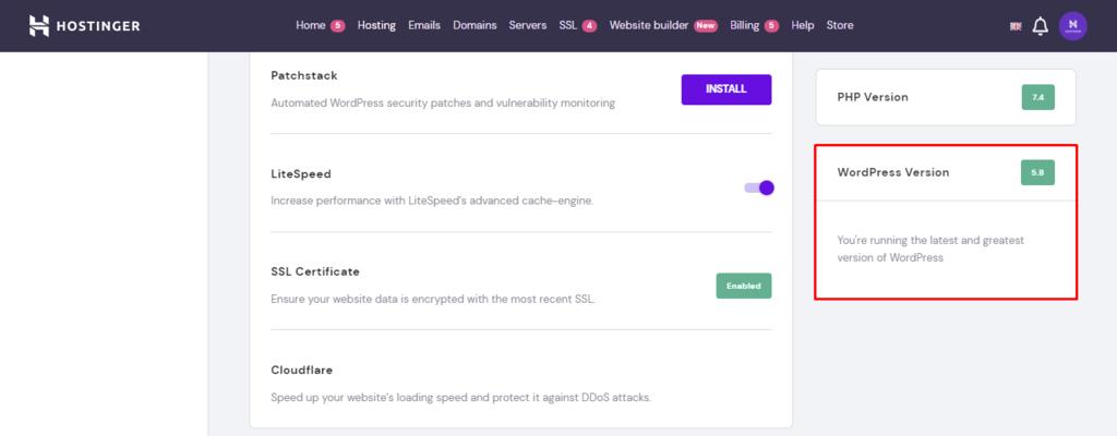 Screenshot showcasing the hPanel wordpress version section