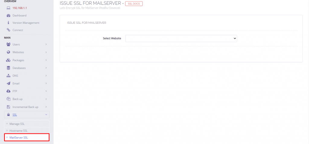 A screenshot showing how to issue SSL for mailserver in the Cyberpanel dashboard