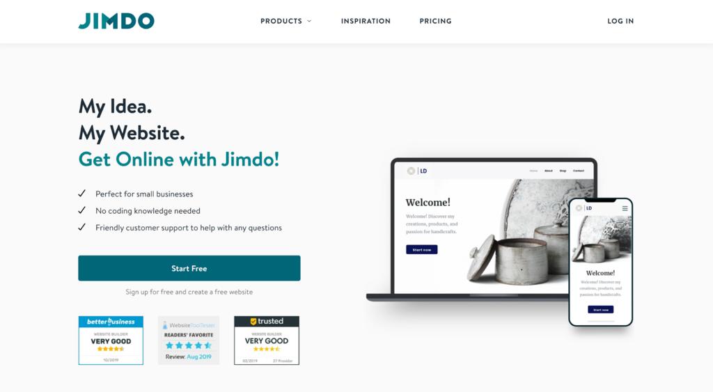 Screenshot of Jimdo's website.