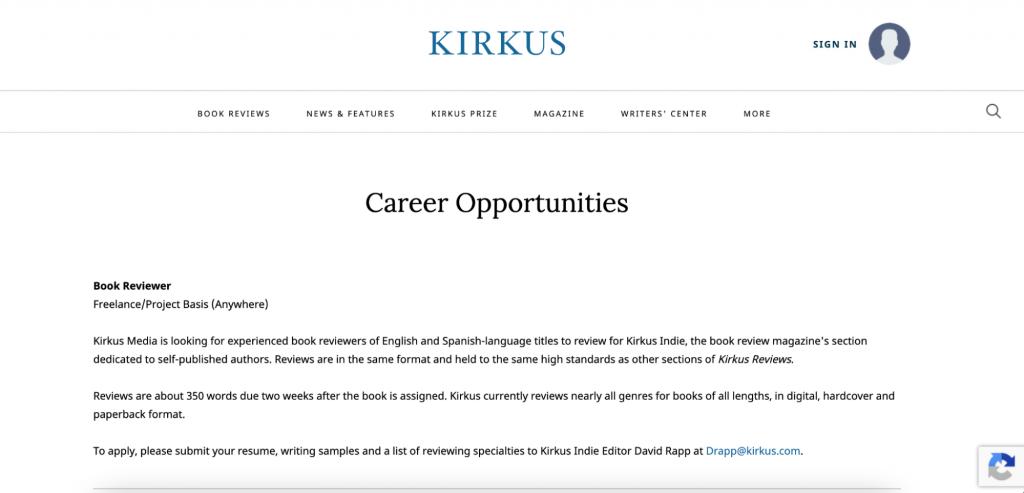 kirkus careers page
