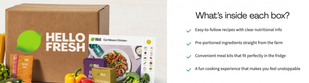 An example of a meal kit subscription box with the description of what is inside.
