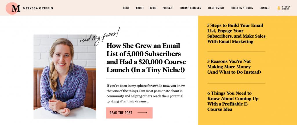 Melyssa Griffin blog landing page