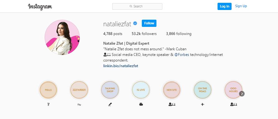 Natalie Zfat Instagram profile