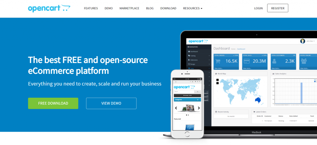 OpenCart, the free CMS.