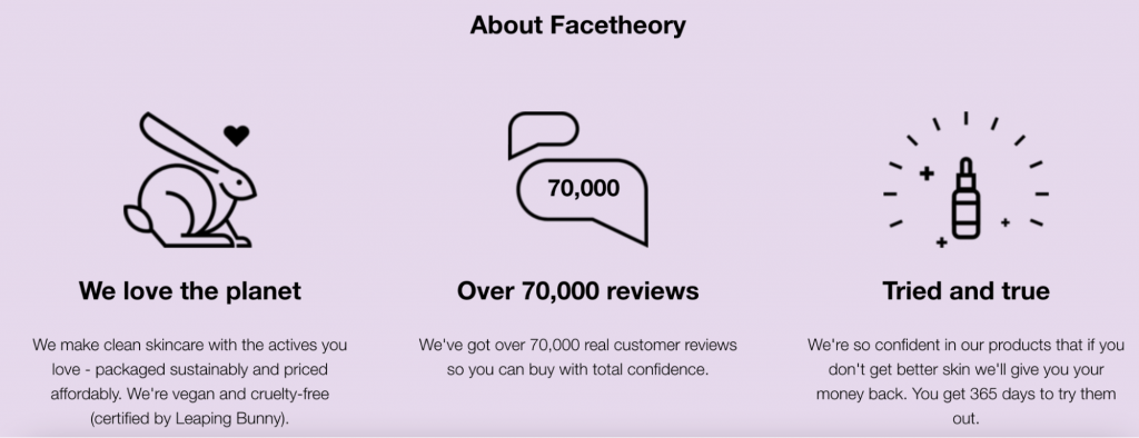 Screenshot from the Facetheory website showing how they advertise their organic and ecological products/
