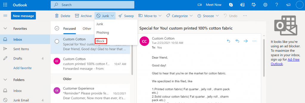 Blocking a sender on Outlook.