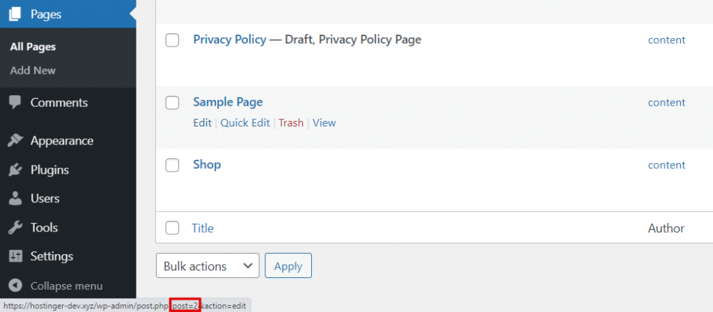 Pages section, highlighting the page ID.