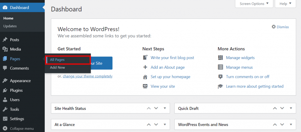 Pages section of the WordPress dashboard.