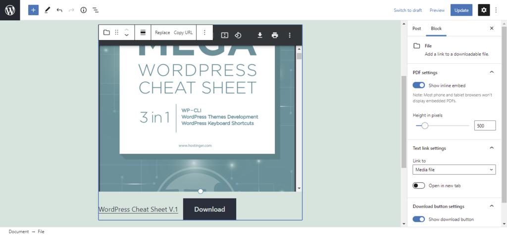 Screenshot of the PDF embedder block