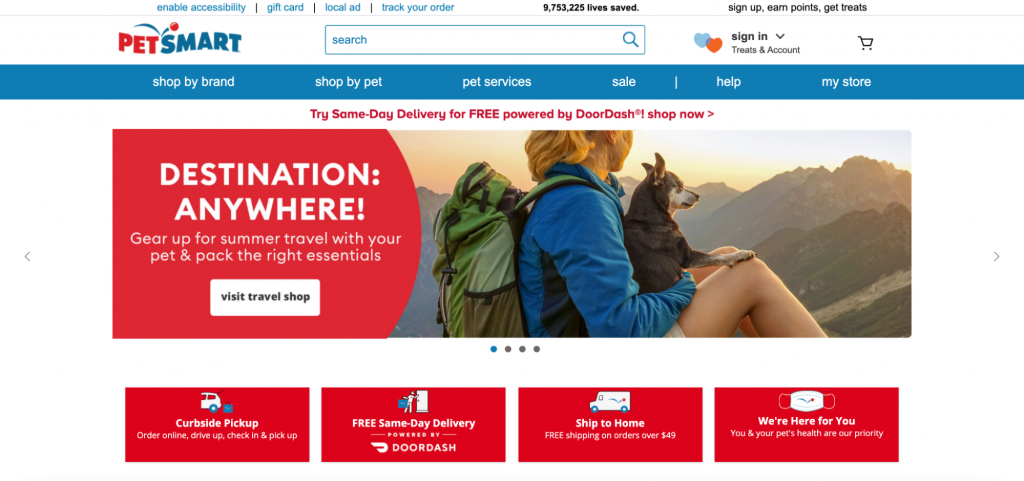 Screenshot from PetSmart website showing an example of a pet carrier backpack and where to buy it.