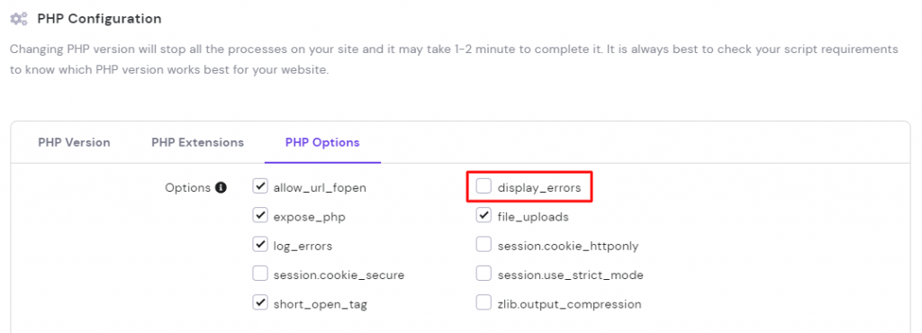PHP configuration in hPanel