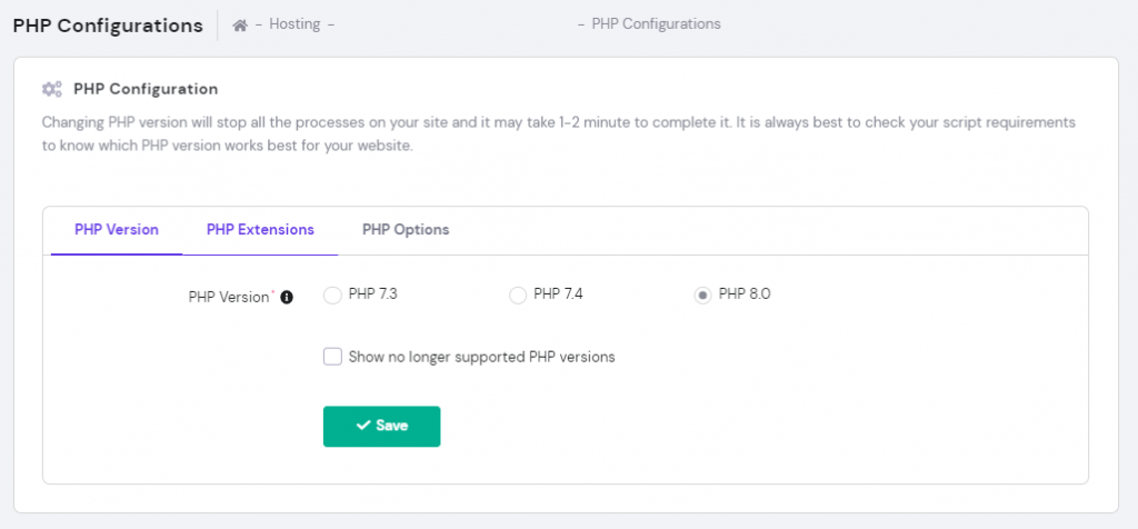PHP configurations on the hPanel.