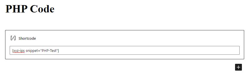 Shortcode block in WordPress.