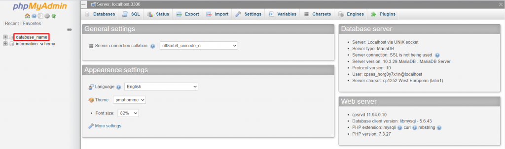 phpMyAdmin page directing to click on database name