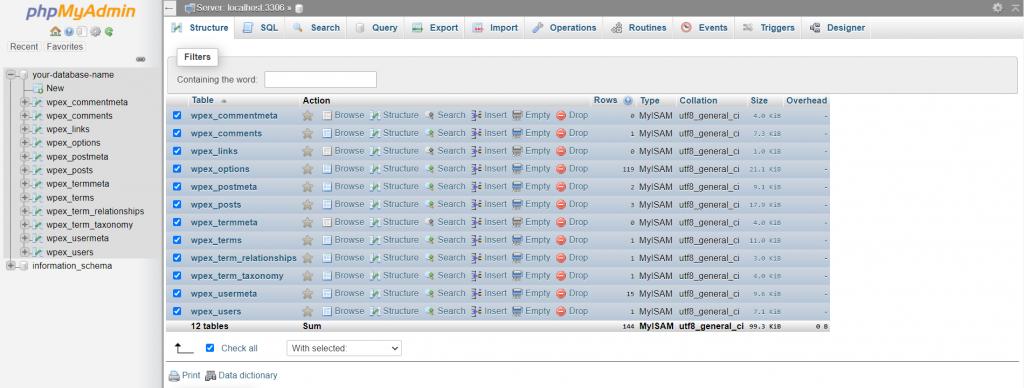 phpMyAdmin window showing database tables