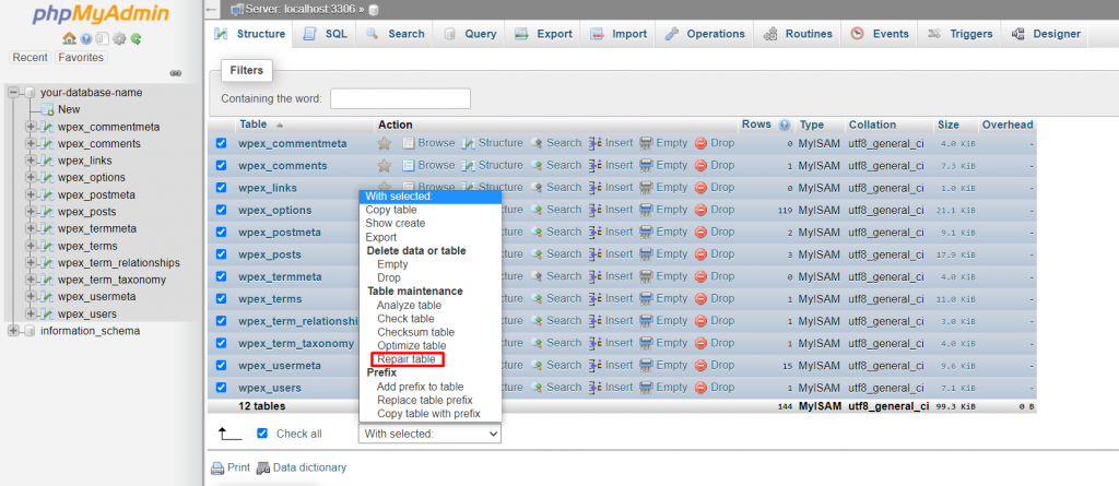 phpMyAdmin window showing how to repair table