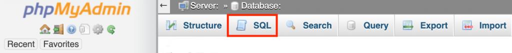 phpMyAdmin dashboard highlighting the SQL option in the menu bar