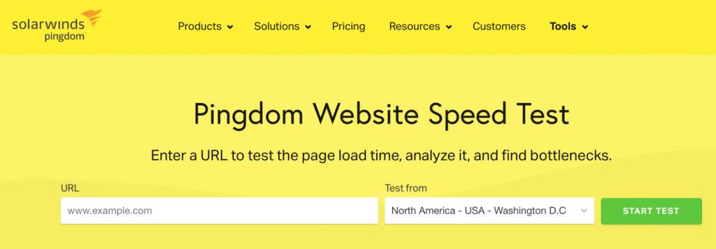 Pingdom website speed test's homepage