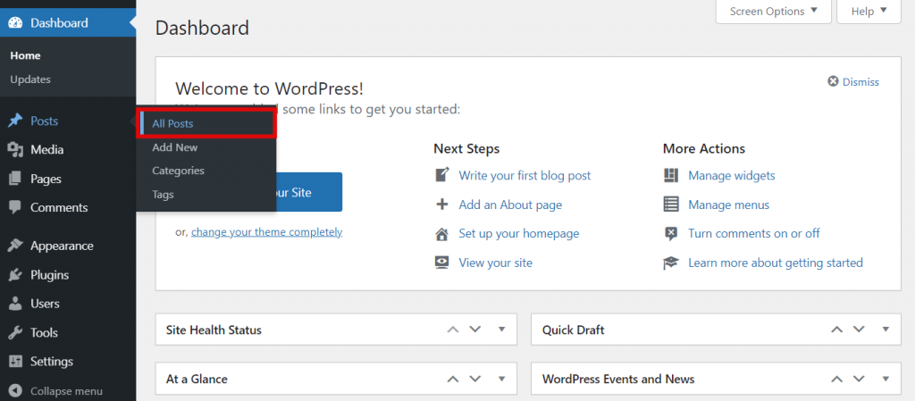 Posts section of the WordPress dashboard,