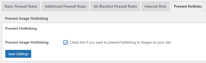 Prevent hotlinks section in the All In one WP Security & Firewall plugin