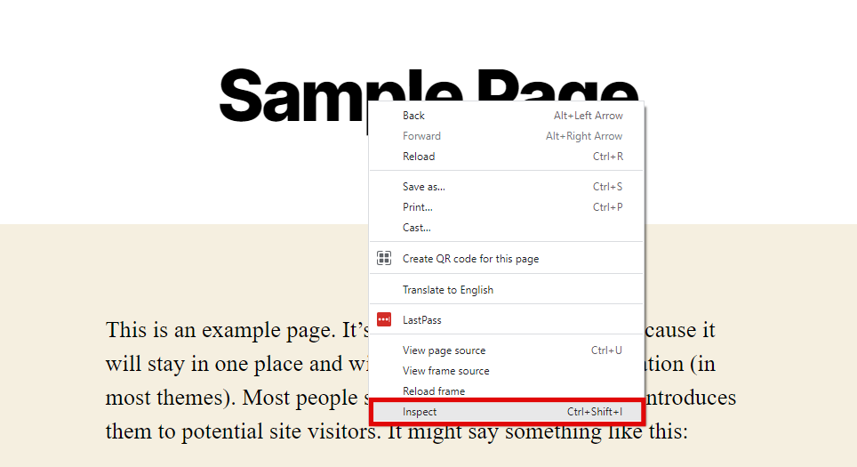 Right-click the page to find the Inspect element.