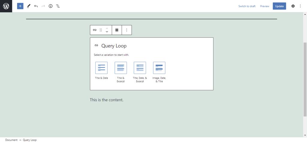 Screenshot of the Query Loop block options