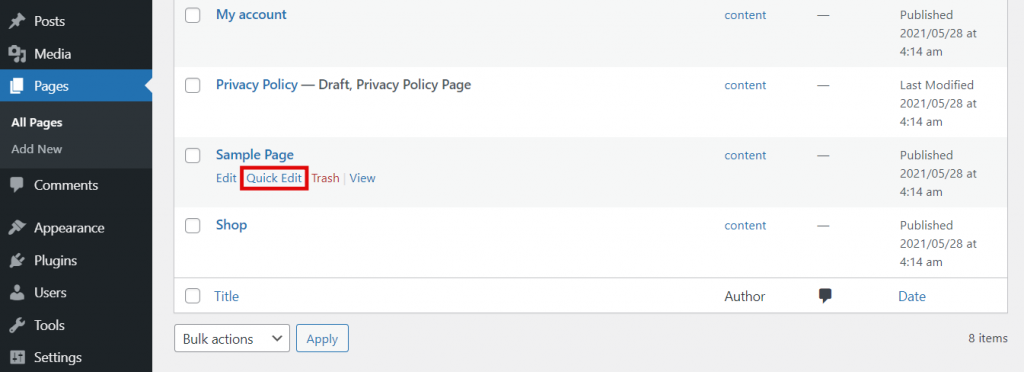 WordPress pages section, highlighting the Quick Edit button.