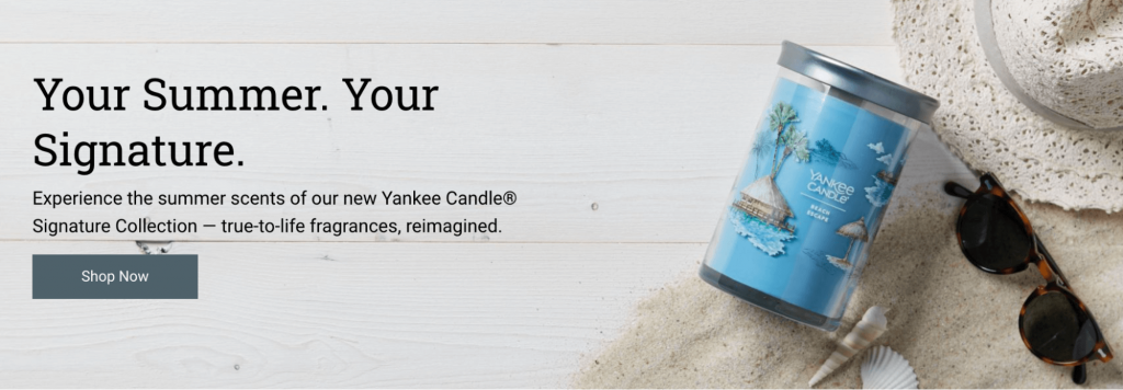 Screenshot showing a scented candle and where to buy it.