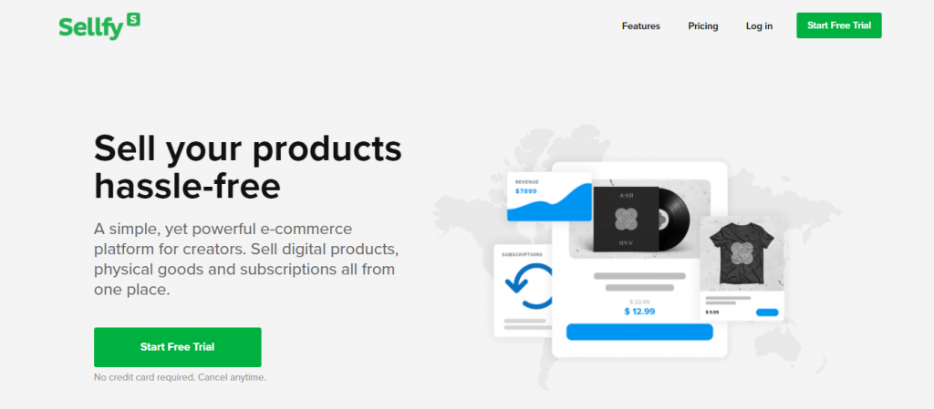 Sellfy homepage