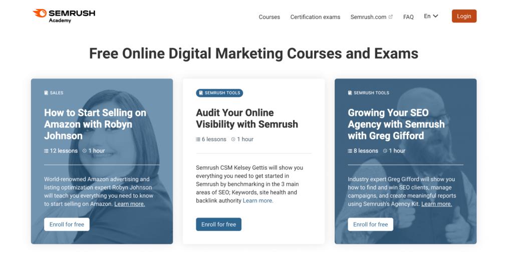 Semrush Academy homepage