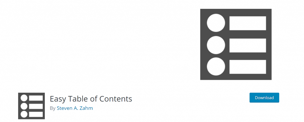 Easy Table of Contents plugin banner.