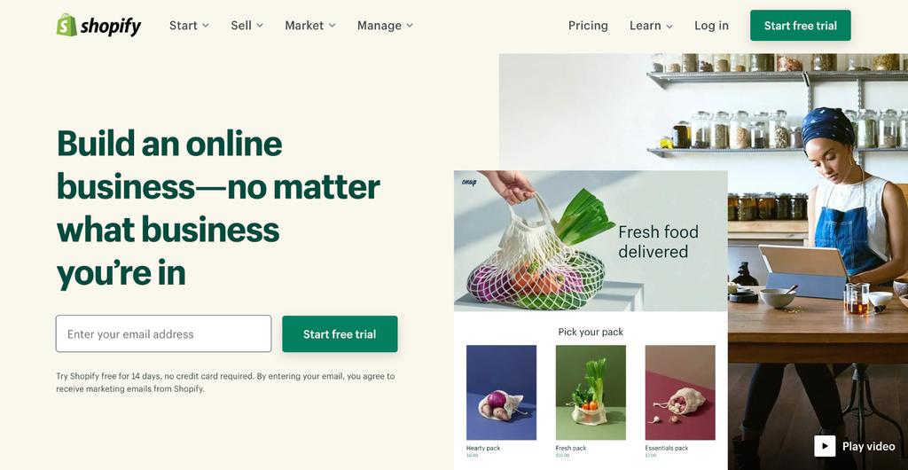 Screenshot of Shopify's website.