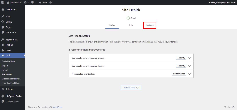 Screenshot showcasing the site health Hostinger tab