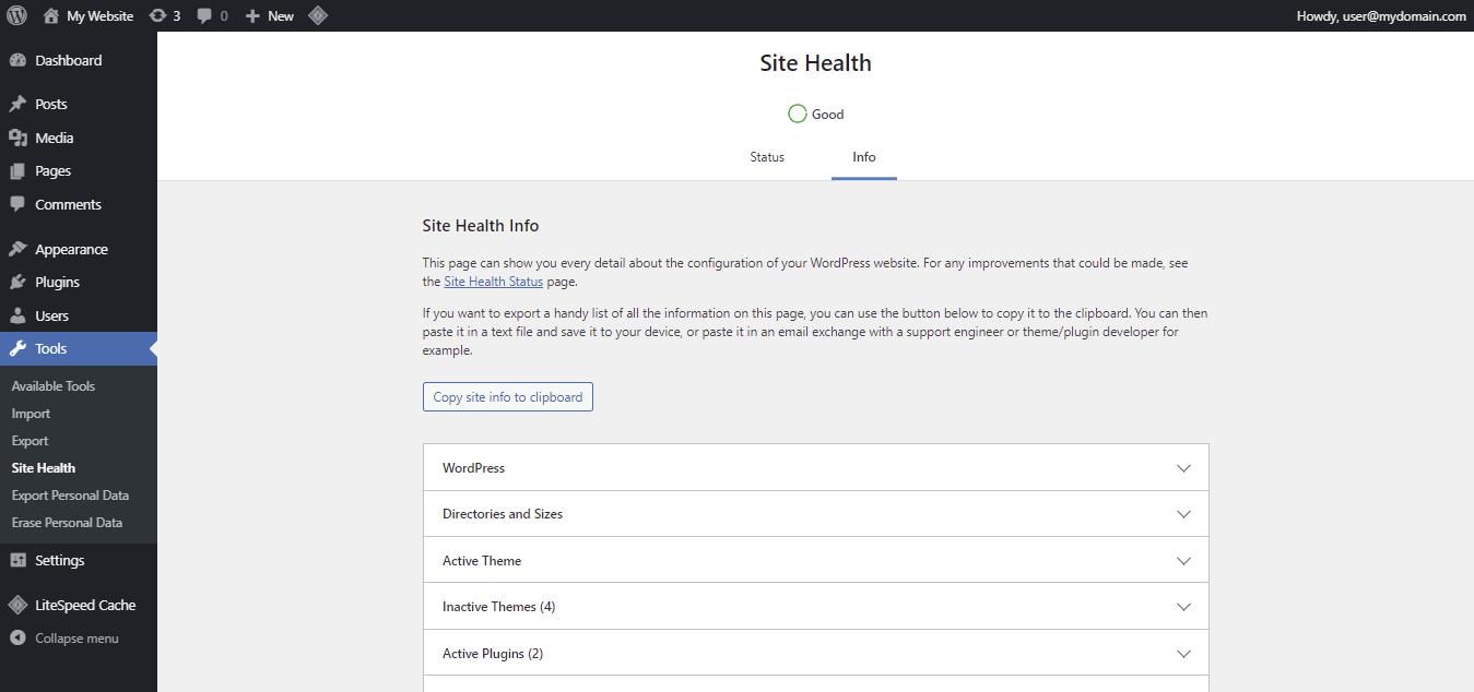 Screenshot showing the site health info tab