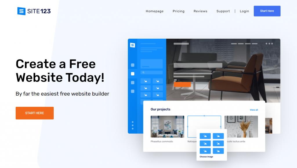 Site123, the freemium website builder.