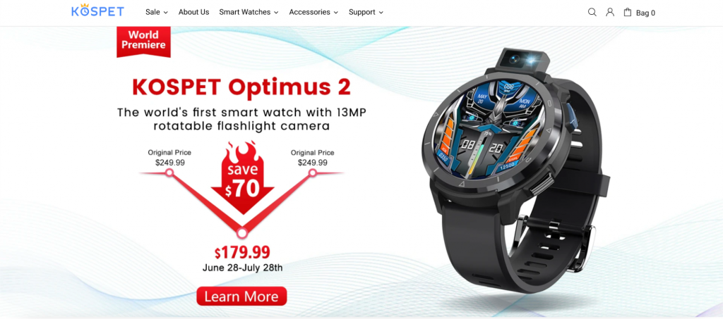 Screenshot showing the KOSPET Optimus 2 smartwatch.
