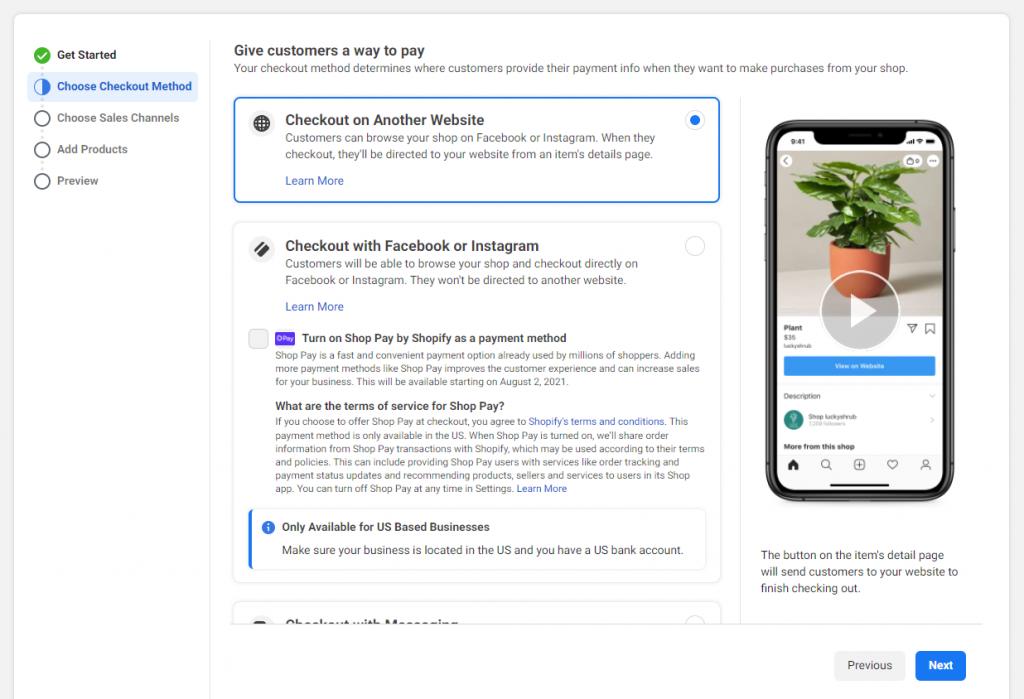 Set checkout methods on Facebook or Instagram