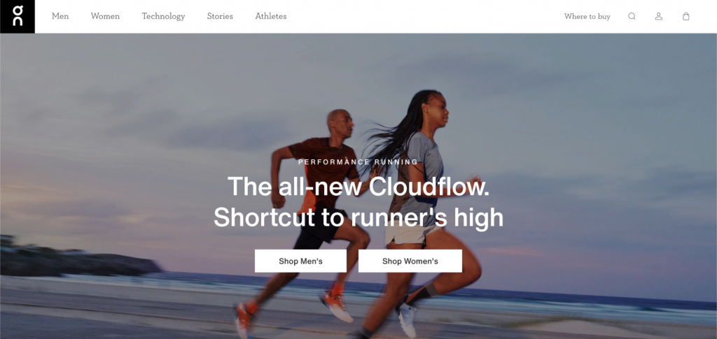 Screenshot showing a man and woman jogging in sportswear and where to buy it.