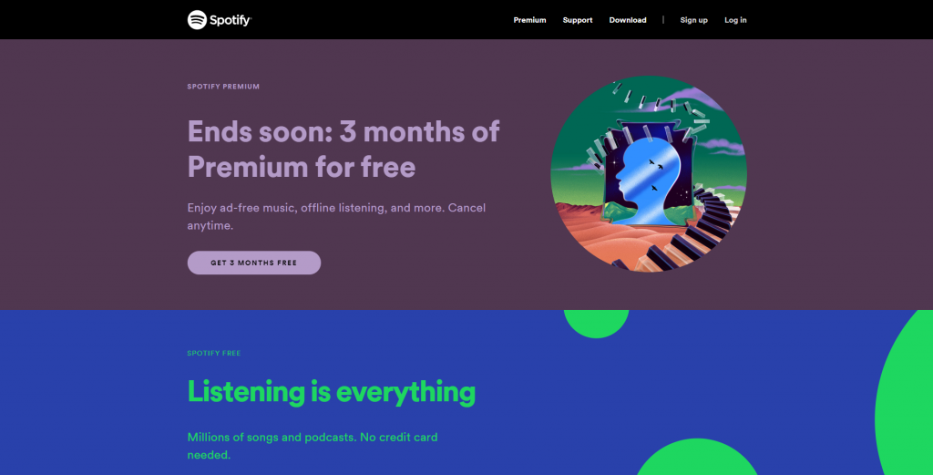 Spotify's homepage