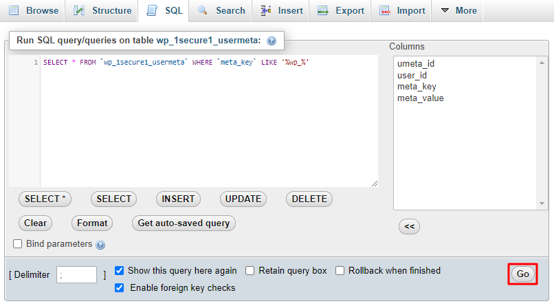 A screenshot showing how to enter the wp_ values code in the SQL query editor