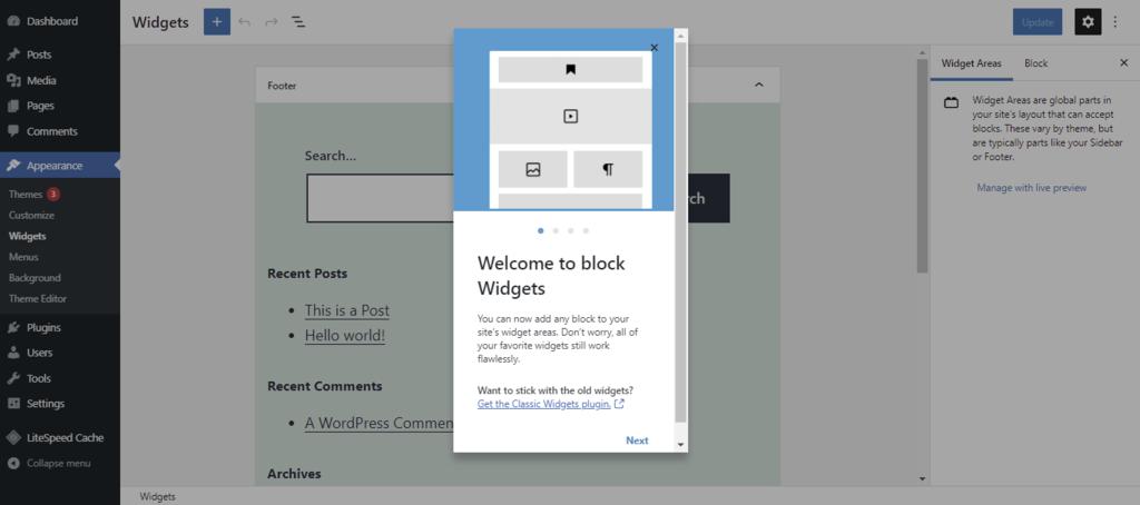 Screenshot of the template editor's block widgets startup screen