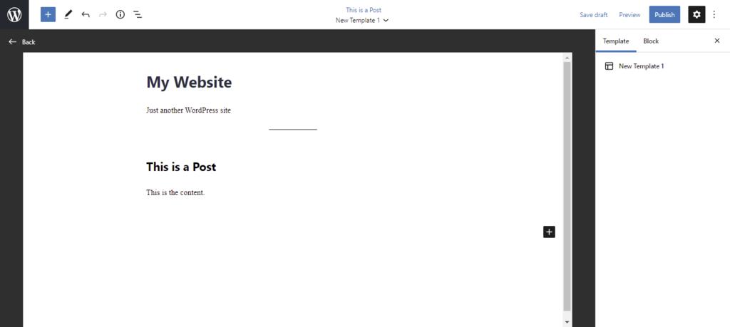 Screenshot showcasing the disabled template editor screen
