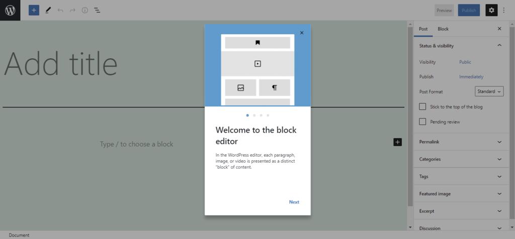 Screenshot of the WordPress Template Editor startup screen