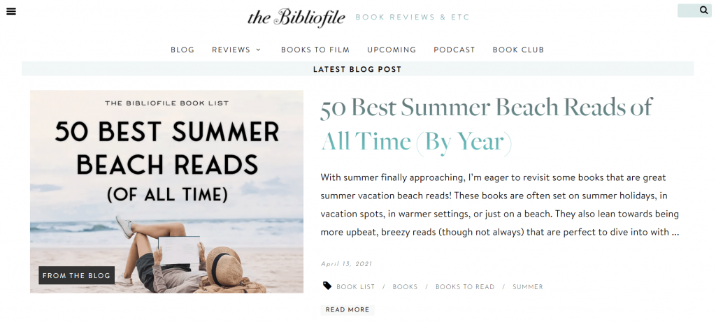 A book blog in reverse chronological order – The Bibliofile.