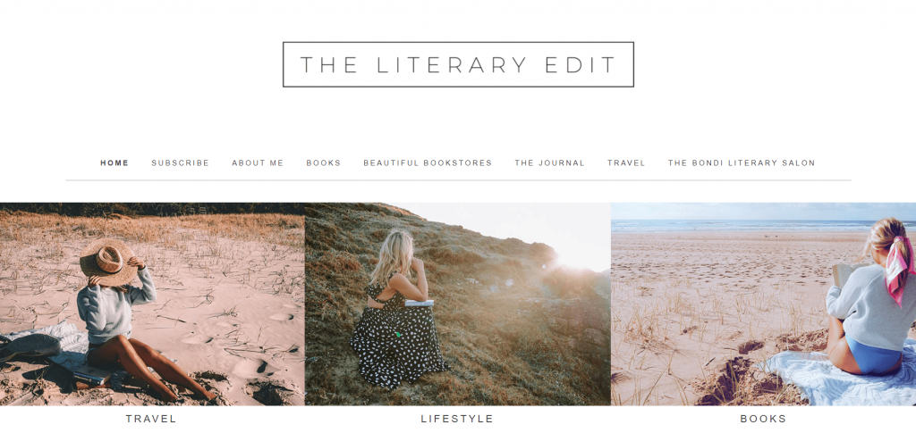 The homepage of the book blog The Literary Edit.