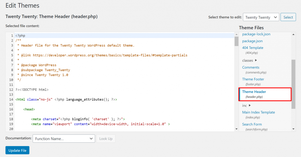 A screenshot showing how to edit the header.php file