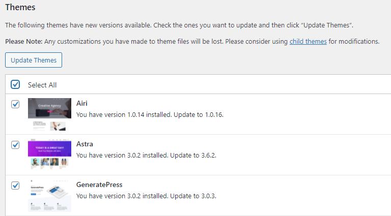WordPress update themes section