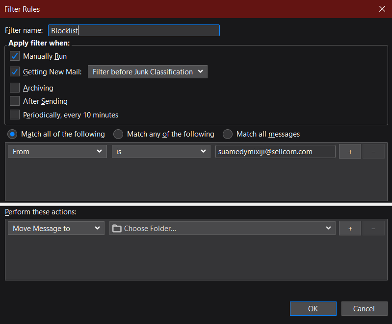 Setting up Filter Rules on Thunderbird.