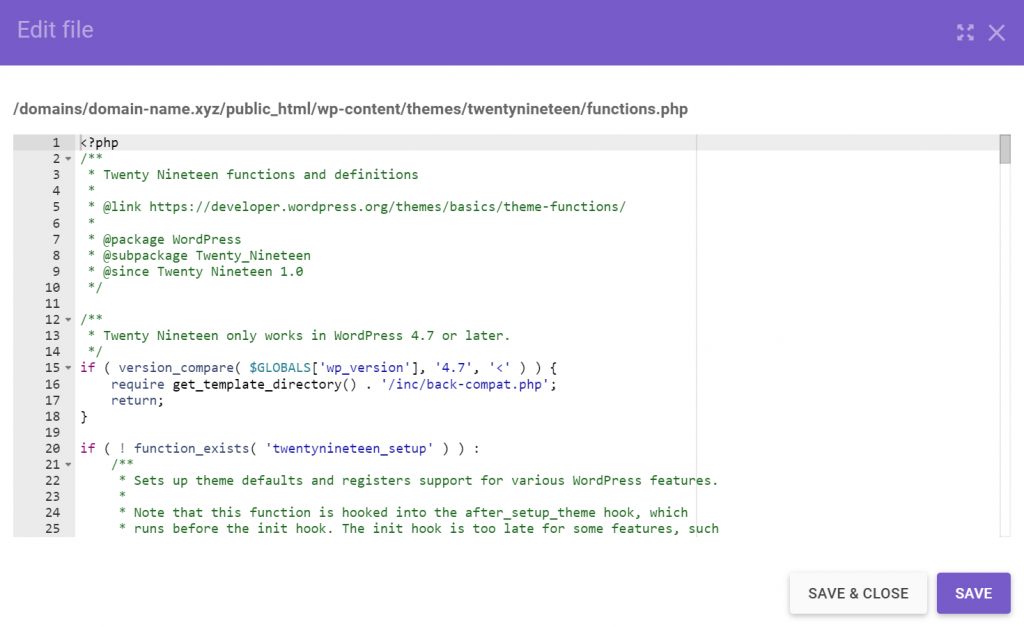 Twenty nineteen theme functions and definitions in the code editor